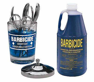 Barbicide Disinfectant Blue Solution Germicide Anti Rust 64oz Manicure Table Jar