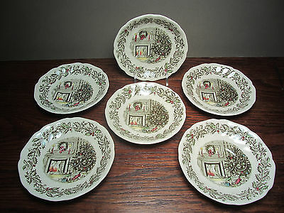 """6 - Johnson Brothers Merry Christmas 5 1/2"""" Saucers - Made in England"""