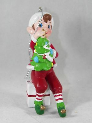 Elf on Present with Tree Christmas Tree Ornament new holiday