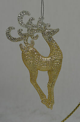 Platinum Glittered Deer Christmas Tree Ornament new winter holiday decorations