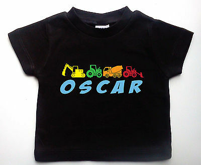 Construction Vehicles Baby T-shirt, Personalised & custom printed, Digger, Truck