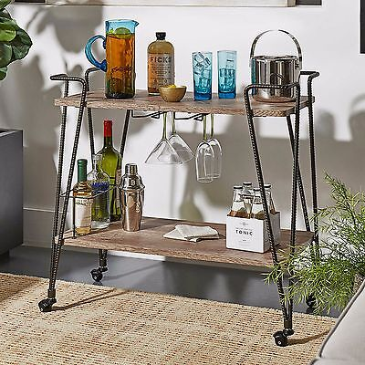 Vintage Industrial Serving Cart Wood & Metal Rolling Trolley Bar Storage Rack