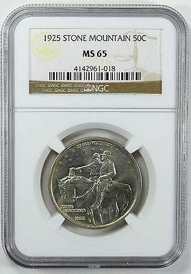 1925 Stone Mountain 50C NGC MS65 White Coin With Light Tone Very Lusterous