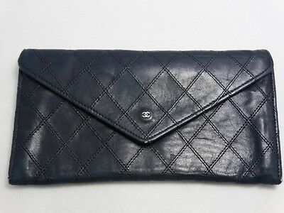 US SELLER Authentic CHANEL WALLET BLACK STITCH LEATHER COCO PURSE FRANCE