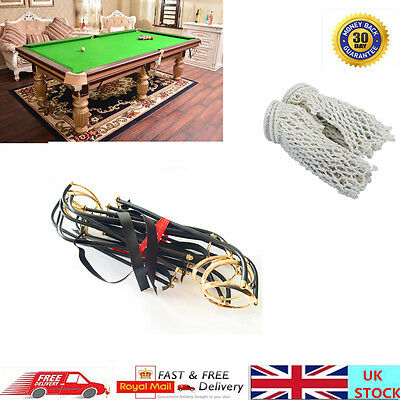 6PCS Standard Pool Snooker Billiard Table Deluxe Brass Empire Rail Net Pockets