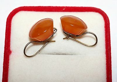 Soviet USSR Vintage Perfect AMBER EARRINGS SILVER 875 Russian USSR Antique