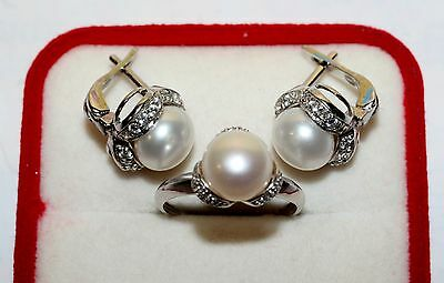Unique Modern Set of Earrings Ring Pearls Silver 925 Ukrainian AMAZING!