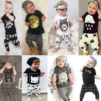 2Pcs Newborn Baby Boys Girls Soft Cotton T-Shirt Tops + Pants Outfits Set