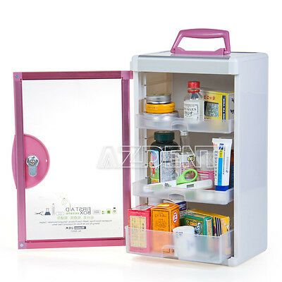 Home Care Medicine Chest First Aid Box Emergency Kit Storage Box Pink X 1