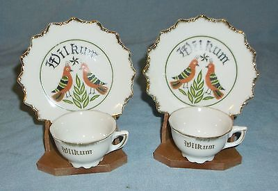 Vintage Pair of Porcelain Mini Cups & Saucers w/ Stands Wilkum Dutch Welcome