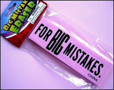 Jumbo Rubber Eraser For BIG Mistakes Party Favor Novelty Toy Free Post