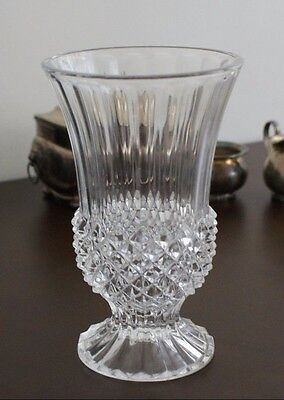 Vintage Crystal Vase with Round Base, Spiked Cut Crystal Diamond Sphere, Fluted