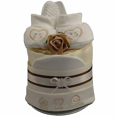"""Nappy cake """"Peace, Love & Happiness"""" neutral baby shower baby gift basket/hamper"""