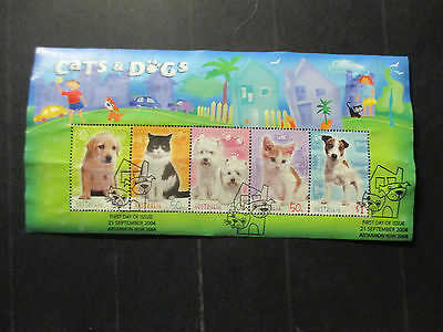 2---  2004  Cat's &  Dog's-Mini  Sheet  - Used  Ist Day  Cancellation --A1