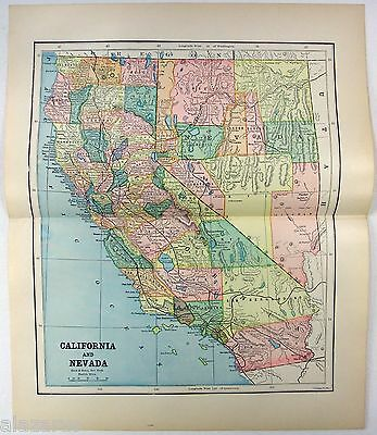 Original 1891 Map of California & Nevada by Hunt & Eaton