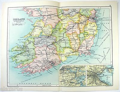 Original 1909 Map of The Southern Section of Ireland by John Bartholomew