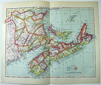 Original 1889 Appleton's Map of The Maritime Provinces of Canada