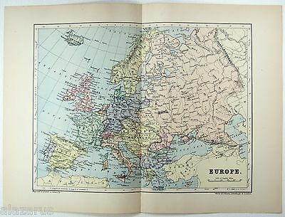 Original 1895 Map of Europe by  W & A.K. Johnston.