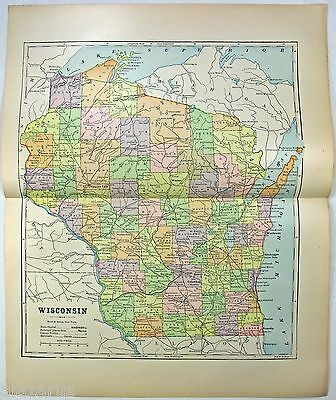 Original 1891 Map of Wisconsin by Hunt & Eaton