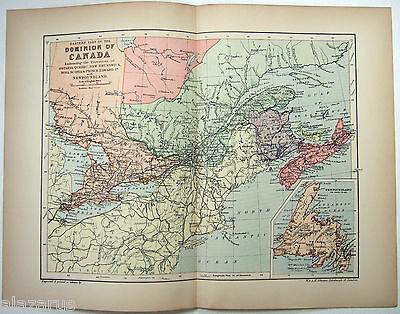 Original 1895 Map of Eastern Part of the Dominion of Canada by  W & A.K Johnston