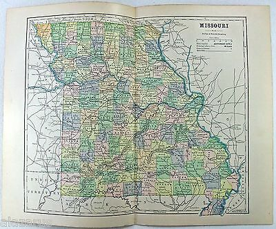 Original 1887 Map of Missouri by Phillips & Hunt