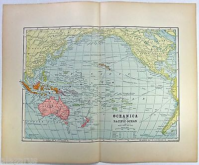 Rare Original 1889 Map of Oceania by Hunt & Eaton