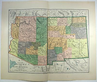 Original 1891 Map of Arizona & New Mexico by Hunt & Eaton