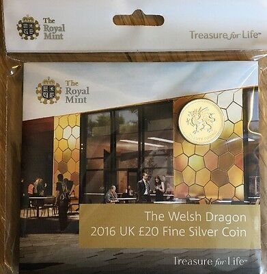 £20 WALES COIN THE WELSH DRAGON 2016 UK £20 FINE SILVER COIN, Uncirculated New!