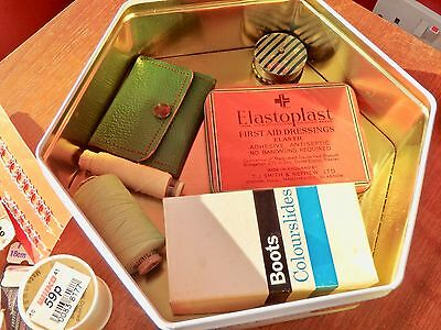 Spanish Biscuit Sewing Tin with Vintage Sewing Items