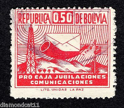 1951 Bolivia 50c Red Obligatory Tax SG 553d FINE USED R26984