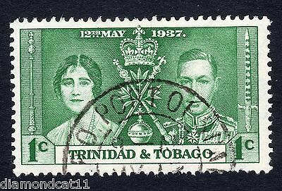1937 Trinidad & Tobago 1c Green Coronation SG 243 Fine Used R11092