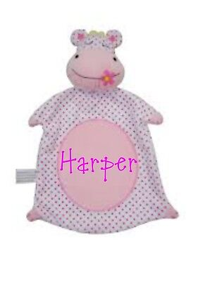 personalsied Pitter Patter Baby Girls Hippo Teddy Comforter - Pink & White