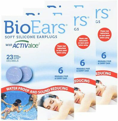 BioEars Soft Silicone Earplugs with Activaloe (3x 3Pairs)