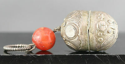 Authentic Antique Chinese Sterling Silver Toggle Antique Agate Bead Circa 1800s