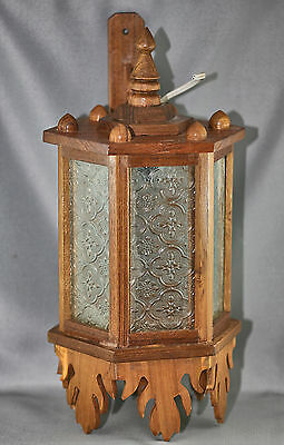 Vintage Teakwood & Moulded Glass Wall Lantern w/ Electric Fitting