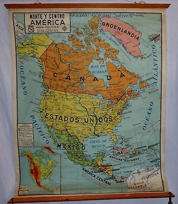 VINTAGE ROLL SCHOOL MAP AMERICA NORTH - CENTRAL / 1962 ANTIQUE POSTER 100x120Cm