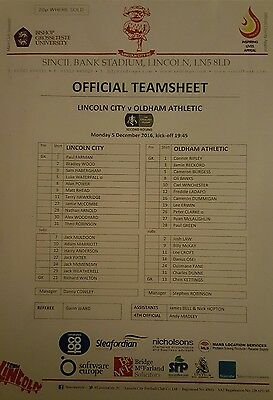 LINCOLN CITY v OLDHAM ATHLETIC (FA Cup) 2016/17 - Official Colour Teamsheet