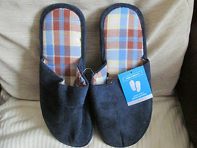 Mens mule slippers, navy blue suede effect, size 9, new