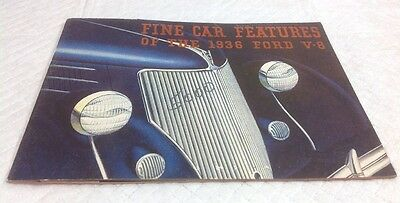 1936 Ford V8 Auto Original Dealer Sales Brochure Fine Car Features of The Model