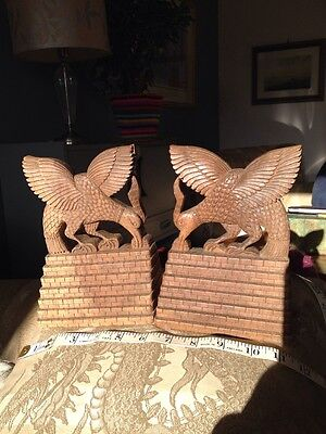Carved Pair Wooden Bookends