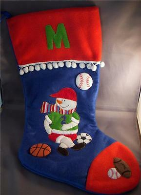 """21"""" """"M"""" Initial Soccer Basketball Baseball Christmas Stocking Flannel Red SPORTS"""