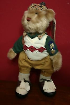 "Brass Button Sports Bear 12"" CROSBY Golf Bear"