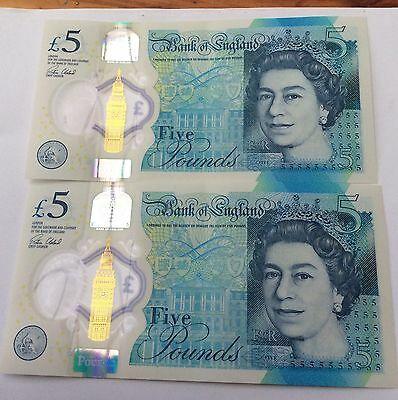 2 X 5 pound note With Error BA Consecutive Numbers