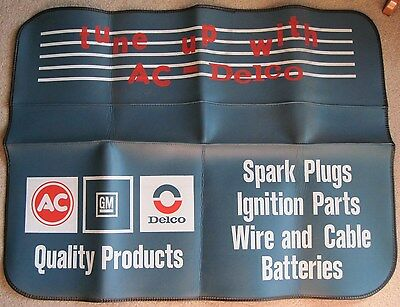 Vintage AC Delco Fender Mat Cover Spark Plugs Batteries Tune Up OK GM