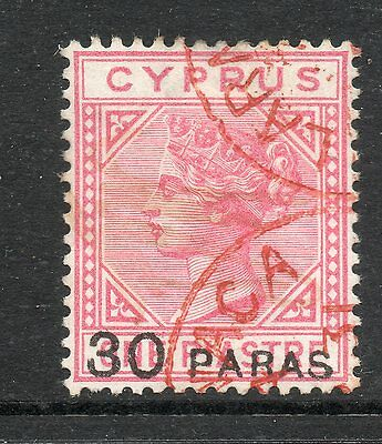 CYPRUS 1882 SG24 VICTORIA 30pa on 1pi ROSE - FINE USED - RED LARNACA CDS