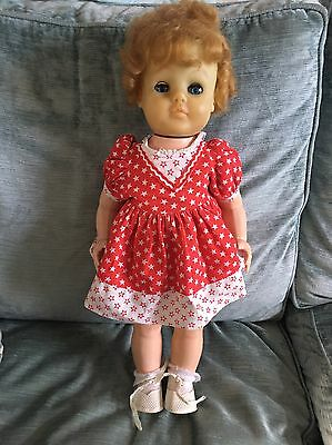 Vintage 50s-60s Walking Doll With Star Print Dress