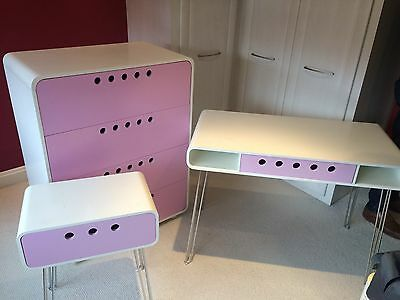 Stunning Children's Pink Bedroom 3 Piece Draws Set With Stainless Steel Legs