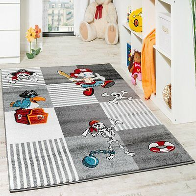 Kids Grey Rug Check Soft Pirates Play Room Mat Boy Bedroom Carpet Small Large XL