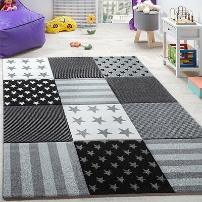 Kids Star Rug Grey Check Play Room Carpet Bedroom Mat Small X Large HIGH QUALITY