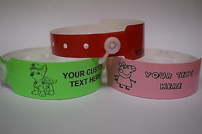 VINYL WRISTBANDS-Chidrens Custom Printed Wristbands,Girls,Boys,Party,School Trip